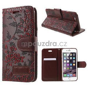 Elegantní květinové peněženkové pouzdro na iPhone 6 a 6s - červenohnědé - 1