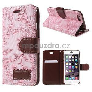 Elegantní květinové peněženkové pouzdro na iPhone 6 a 6s - růžové - 1