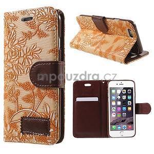 Elegantní květinové peněženkové pouzdro na iPhone 6 a 6s - oranžové - 1