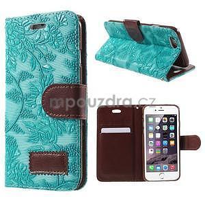 Elegantní květinové peněženkové  pouzdro na iPhone 6 a 6s - tyrkysové - 1