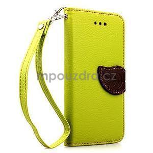 PU kožené peněženkové pouzdro pro iPhone 6s a 6 - zelené - 1