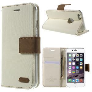 Peněženkové koženkové pouzdro na iPhone 6s a 6 - bílé - 1