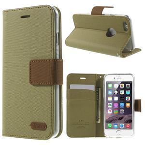 Peněženkové koženkové pouzdro na iPhone 6s a 6 - khaki - 1