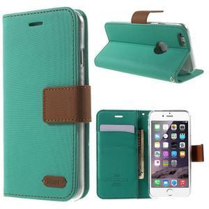 Peněženkové koženkové pouzdro na iPhone 6s a 6 - zelené - 1