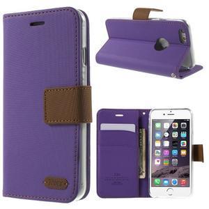Peněženkové koženkové pouzdro na iPhone 6s a 6 - fialové - 1