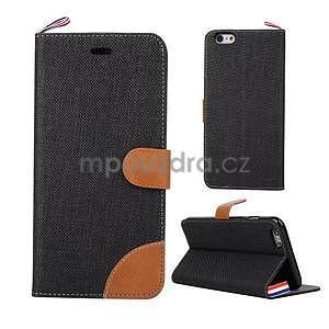 Látkové/koženkové peněženkové pouzdro na iphone 6s a 6 - černé - 1