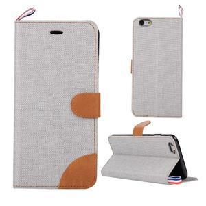 Látkové/koženkové peněženkové pouzdro na iphone 6s a 6 - šedé - 1