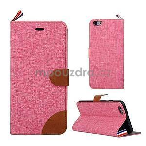 Látkové/koženkové peněženkové pouzdro na iphone 6s a 6 - růžové - 1