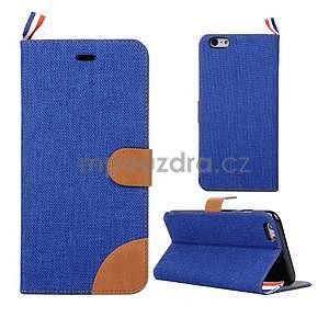 Látkové/koženkové peněženkové pouzdro na iphone 6s a 6 - modré - 1
