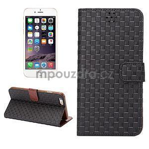 Mřížkované koženkové pouzdro na iPhone 6 a iPhone 6s - černé - 1