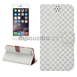 Mřížkované koženkové pouzdro na iPhone 6 a iPhone 6s - šedé - 1
