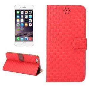 Mřížkované koženkové pouzdro na iPhone 6 a iPhone 6s - červené - 1