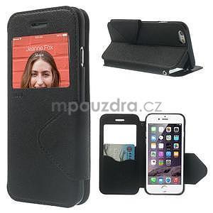 Peněženkové pouzdro s okýnkem na iPhone 6 a 6s - černé - 1