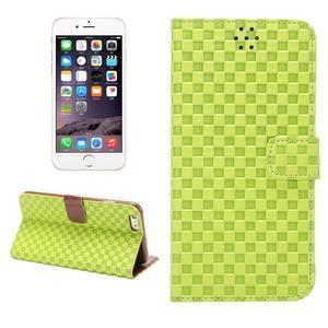 Mřížkované koženkové pouzdro na iPhone 6 a iPhone 6s - zelené - 1