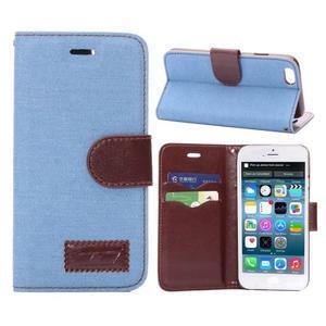 Jeans látkové/pu kožené peněženkové pouzdro na iPhone 6 a 6s - světle modré - 1