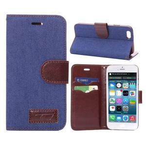 Jeans látkové/pu kožené peněženkové pouzdro na iPhone 6 a 6s - modré - 1