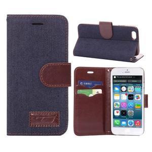 Jeans látkové/pu kožené peněženkové pouzdro na iPhone 6 a 6s - tmavě modré - 1