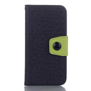 Dvoubarevné peněženkové pouzdro pro iPhone 6 a iPhone 6s - černé/zelené - 1