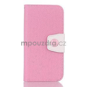 Dvoubarevné peněženkové pouzdro pro iPhone 6 a iPhone 6s - růžové/bílé - 1