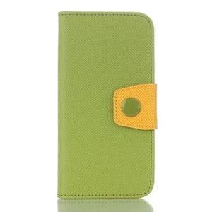 Dvoubarevné peněženkové pouzdro pro iPhone 6 a iPhone 6s - zelené/žluté - 1