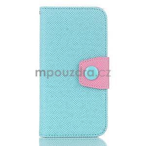 Dvoubarevné peněženkové pouzdro pro iPhone 6 a iPhone 6s - cyan/růžové - 1