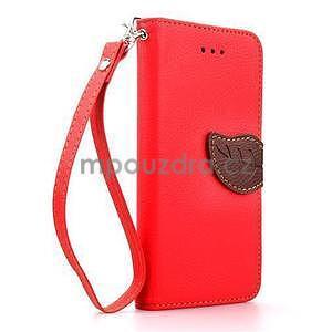 PU kožené peněženkové pouzdro pro iPhone 6s a 6 - červené - 1