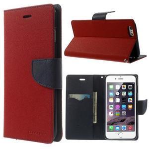 Peněženkové pouzdro pro iPhone 6 Plus a 6s Plus - červené - 1