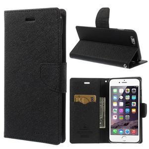 Peněženkové pouzdro pro iPhone 6 Plus a 6s Plus - černé - 1