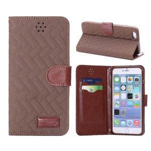 Elegantní peněženkové pouzdra pro iPhone 6 Plus a 6s Plus - hnědé - 1