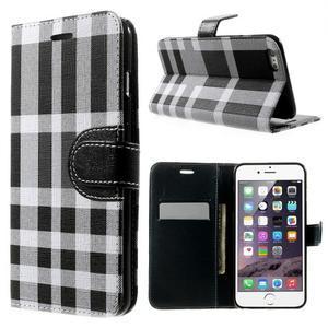 Kárované peněženkové pouzdro na iPhone 6 Plus a 6s Plus - černobílé - 1