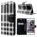 Kárované peněženkové pouzdro na iPhone 6 Plus a 6s Plus - černobílé - 1/4