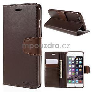 Peněženkové pouzdro pro iPhone 6 Plus a 6s Plus - hnědé - 1