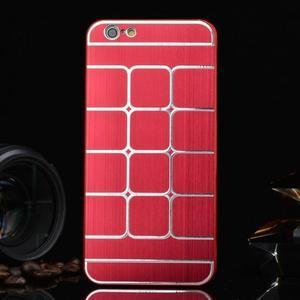 Stylový kryt s kovovými zády pro iPhone 6 Plus a 6s Plus - červený - 1