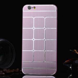 Stylový kryt s kovovými zády pro iPhone 6 Plus a 6s Plus - růžový - 1