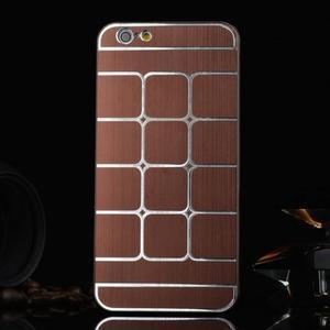Stylový kryt s kovovými zády pro iPhone 6 Plus a 6s Plus - hnědý - 1