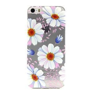 Transparentní gelový obal na mobil iPhone SE / 5s / 5 - květinky - 1