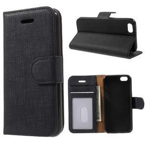 Cloth PU kožené pouzdro na iPhone SE / 5s / 5 - černé - 1