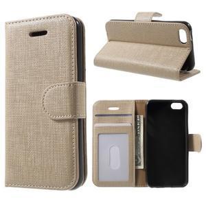Cloth PU kožené pouzdro na iPhone SE / 5s / 5 - zlaté - 1