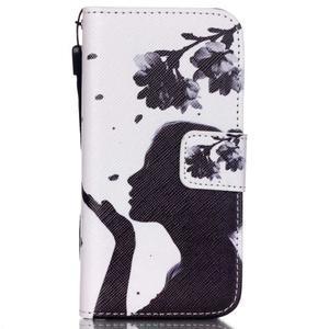 Peněženkové pouzdro na mobil iPhone SE / 5s / 5 - děvče s květinou - 1