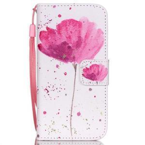 Peněženkové pouzdro na mobil iPhone SE / 5s / 5 - makový květ - 1