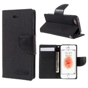 Canvas PU kožené/textilní pouzdro na mobil iPhone SE / 5s / 5 - černé - 1