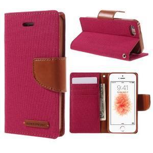 Canvas PU kožené/textilní pouzdro na mobil iPhone SE / 5s / 5 - červené - 1