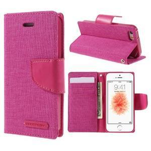 Canvas PU kožené/textilní pouzdro na mobil iPhone SE / 5s / 5 - rose - 1
