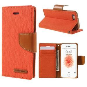 Canvas PU kožené/textilní pouzdro na mobil iPhone SE / 5s / 5 - oranžové - 1