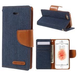 Canvas PU kožené/textilní pouzdro na mobil iPhone SE / 5s / 5 - tmavěmodré - 1