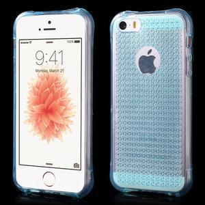 Diamonds gelový obal se silným obvodem na iPhone SE / 5s / 5 - modrý - 1