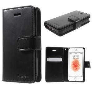 Extrarich PU kožené pouzdro na iPhone SE / 5s / 5 - černé - 1