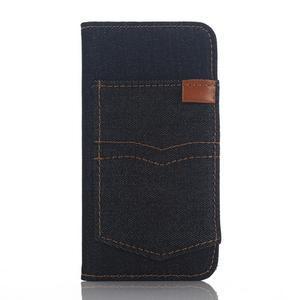 Jeans peněženkové pouzdro na mobil iPhone SE / 5s / 5 - černomodré - 1