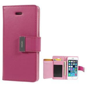 Rich diary PU kožené pouzdro na iPhone SE / 5s / 5 - rose - 1
