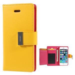 Rich diary PU kožené pouzdro na iPhone SE / 5s / 5 - žluté - 1